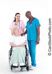 docteur, infirmière, chaise, roue, patient