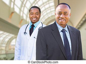 docteur, intérieur, américain, africaine, homme affaires, ...