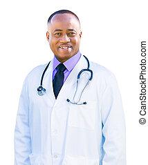 docteur, isolé, américain, fond, africaine, blanc mâle