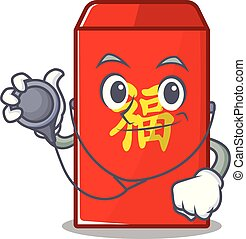 docteur, isolé, enveloppe, dessin animé, rouges