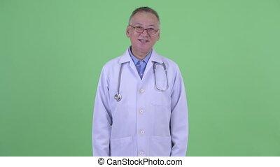 docteur, japonaise, mûrir, sourire heureux, homme