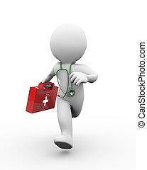 docteur, kit, courant, aide, premier, 3d
