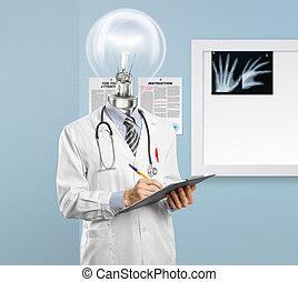 docteur, lamphead, quelque chose, écriture