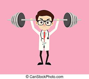 docteur, -, levage, professionnel, poids