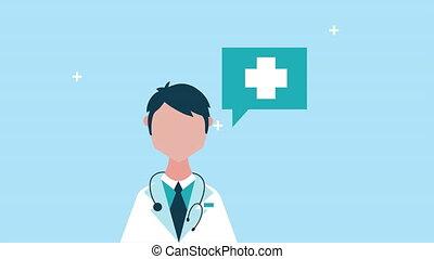 docteur, liste contrôle, mâle, animation