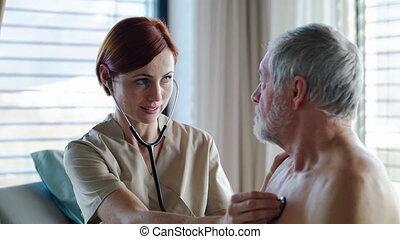 docteur, lit, patient, femme, hospital., examiner, personne agee