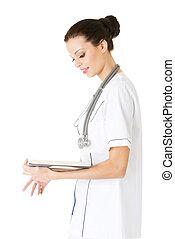 docteur, livre, séduisant, étudiant, médecine, ou