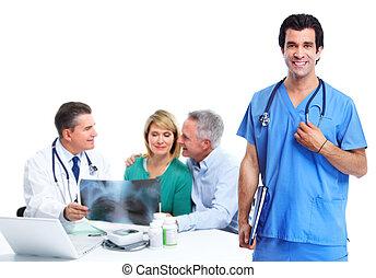 docteur médical, et, personnes âgées accouplent, patient.