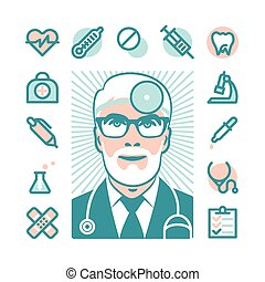 docteur médical, icônes