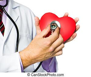 docteur médical, tenue, coeur rouge