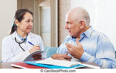 docteur, médicament, prescribes, patient