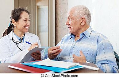 docteur, mûrir, pourparlers, personne agee, amical, homme