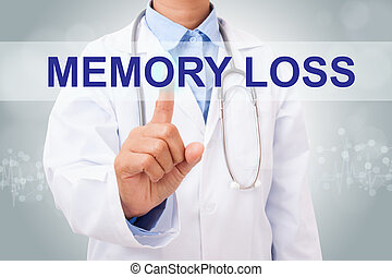 docteur, main, toucher, perte mémoire, signe, sur, virtuel, screen., concept médical