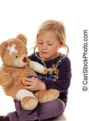 docteur., malades, examiné, stéthoscope, pédiatre, enfant