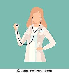 docteur, manteau, ouvrier médical, laboratoire, vecteur, illustration, professionnel féminin, blanc, stéthoscope, caractère