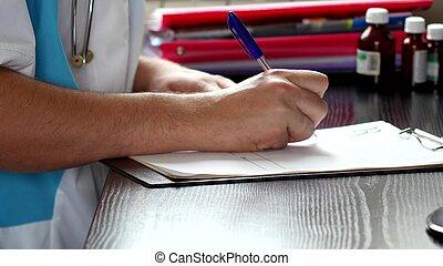 docteur masculin, écriture, rx, prescription