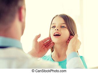 docteur masculin, chèques, petite fille, ganglions lymphatiques