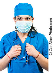 docteur, masque, chirurgical, choqué