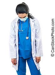 docteur, masque, chirurgical, fatigué