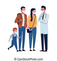 docteur, masque de protection, 19, covid, utilisation, famille