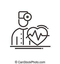 docteur, moderne, -, vecteur, cardiologue, conception, ligne, illustrative, icône