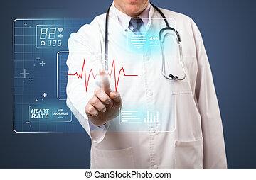 docteur, monde médical, moderne, milieu, urgent, vieilli, type, bouton