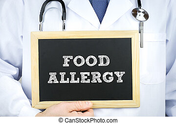 docteur, nourriture, allergie, tableau, diagnostic, message