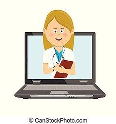 docteur, ordinateur portable, presse-papiers, stéthoscope, femme, ligne, consultation, avoir