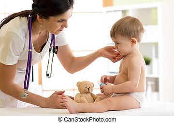 docteur, pédiatre, vérification, garçon, cou
