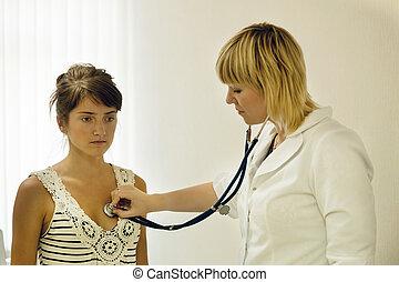 docteur, patient, stéthoscope, écoute