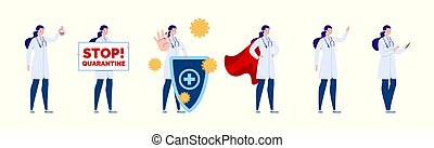 docteur., poses, gestures., création, caractère, docteur, ensemble, divers, femme, isolated.