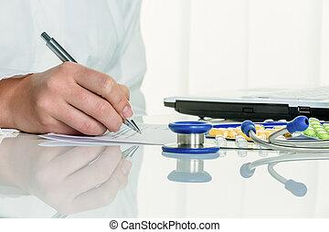 docteur, prescribes, a, drogue