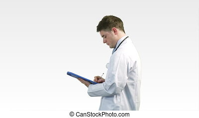docteur, presse-papiers, jeune