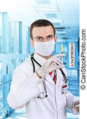 docteur, prise, a, monde médical, seringue, à, medication.