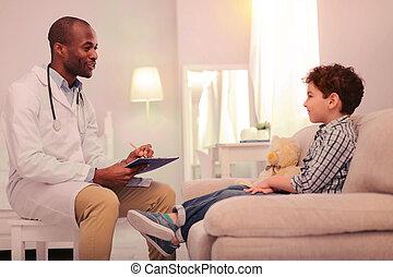 docteur, problèmes, enregistrement, malades, écoute, enfant, precisely