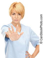 docteur, projection, arrêt, séduisant, femme, geste