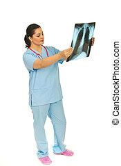 docteur, rayon x, femme, vérification