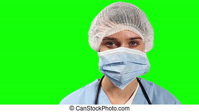 docteur, regarder, femme, vert, vue, écran, appareil photo, devant