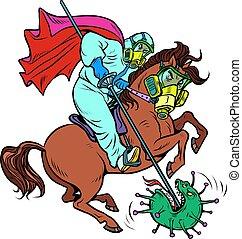 docteur, rue., cavalier, emblème, defeats, george, coronavirus