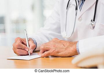 docteur, séance, à, sien, bureau, écriture