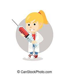docteur, s, déguisement, tenue, utilisation, girl