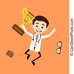 docteur, sauter, -, trophée, professionnel