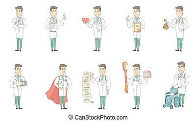 docteur, set., jeune, vecteur, illustrations, caucasien