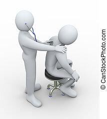 docteur, stéthoscope, examine, patient, 3d