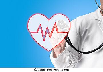 docteur, stéthoscope, tenant main