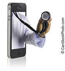 docteur, sur, intelligent, téléphone