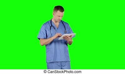 docteur, tablet., écran, vert, utilisation, sourire