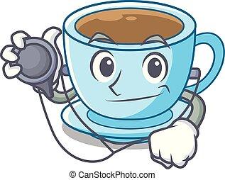 docteur, tasse thé, dessin animé, délicieux, lait