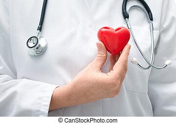 docteur, tenue, coeur
