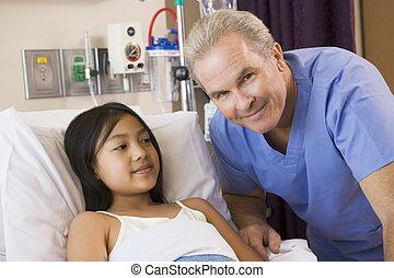 docteur, vérification, haut, sur, sien, patient